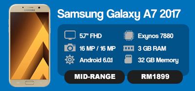 Samsung Galaxy A7 2017 Kini Di Malaysia, Hadir Dengan Ciri-Ciri Kalis Air